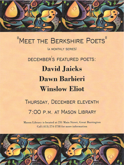 "Winslow Eliot to appear at ""Meet the Berkshire Poets"""